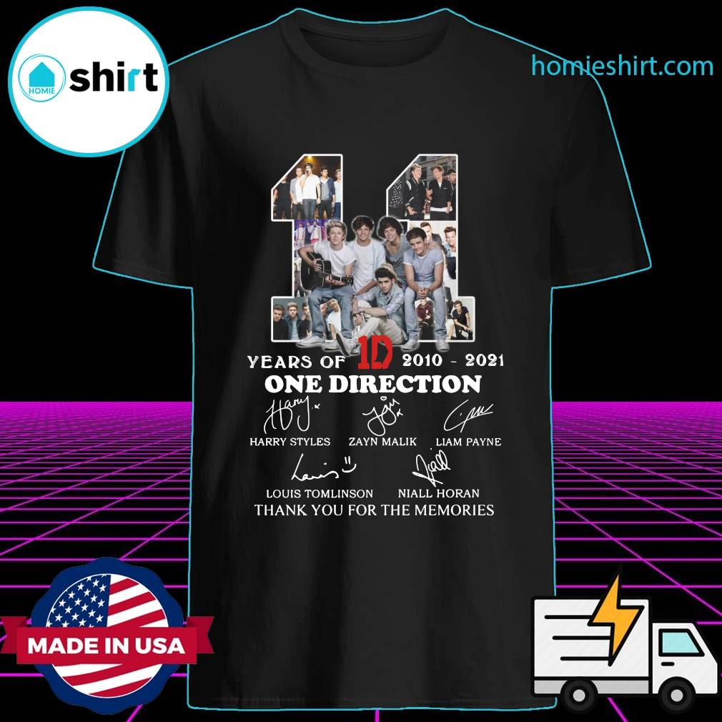 11 Years Of 1D One Direction 2021 2021 Signatures Thanks For The Memories Shirt