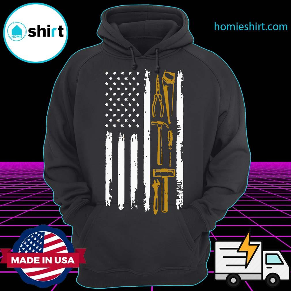 Carpenter With American Flag Shirt Hoodie