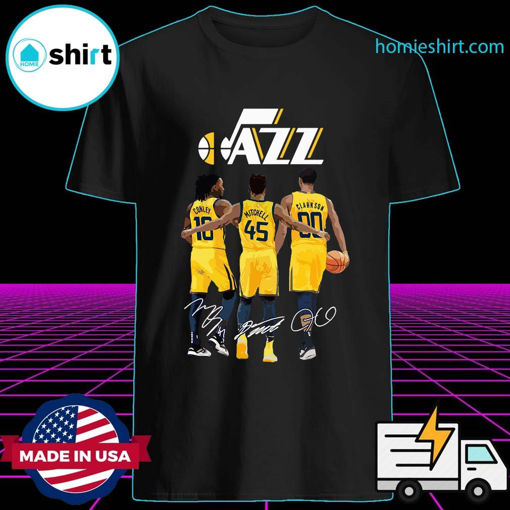 Official Jazz 10 Conley 45 Mitchell 00 Clarkson Siganatures Shirt