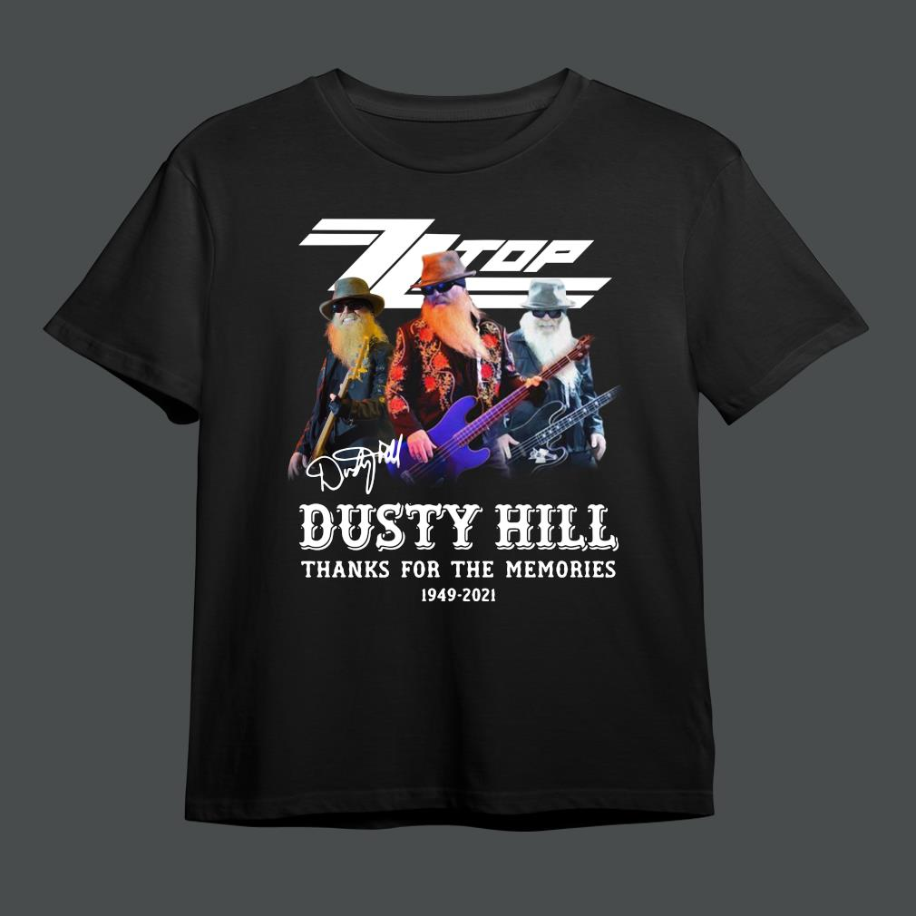 ZZ Top Dusty Hill 1949-2021 thank you for the memories signature shirt