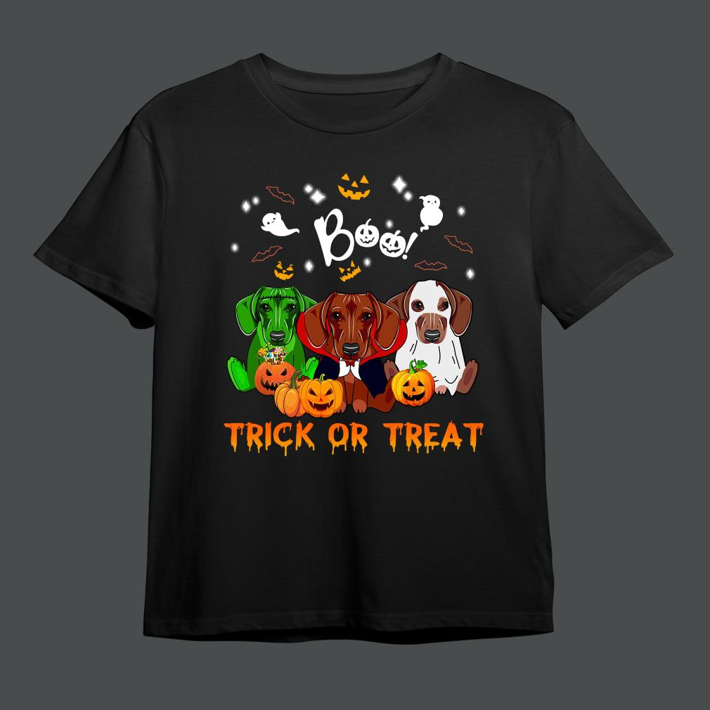 Official dachshunds boo trick or treat Halloween shirt