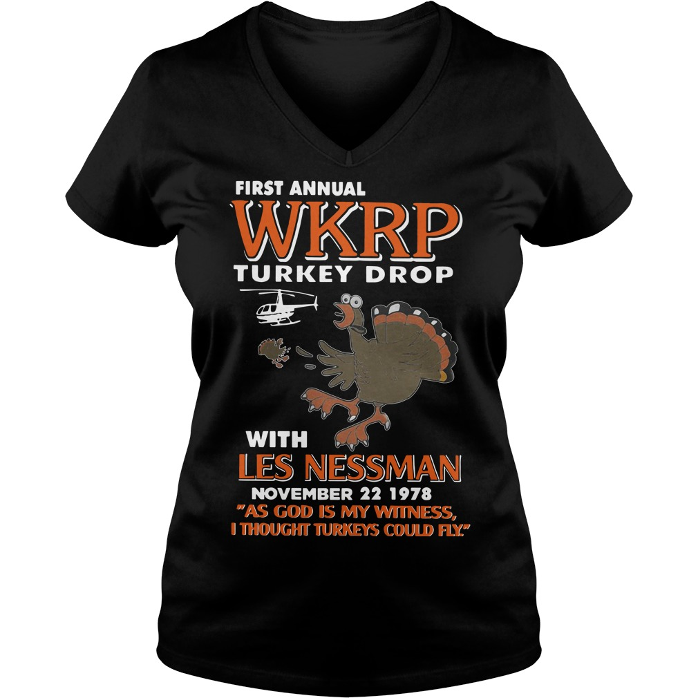First annual WKRP Turkey drop with les nessman november 22 1978 V-neck