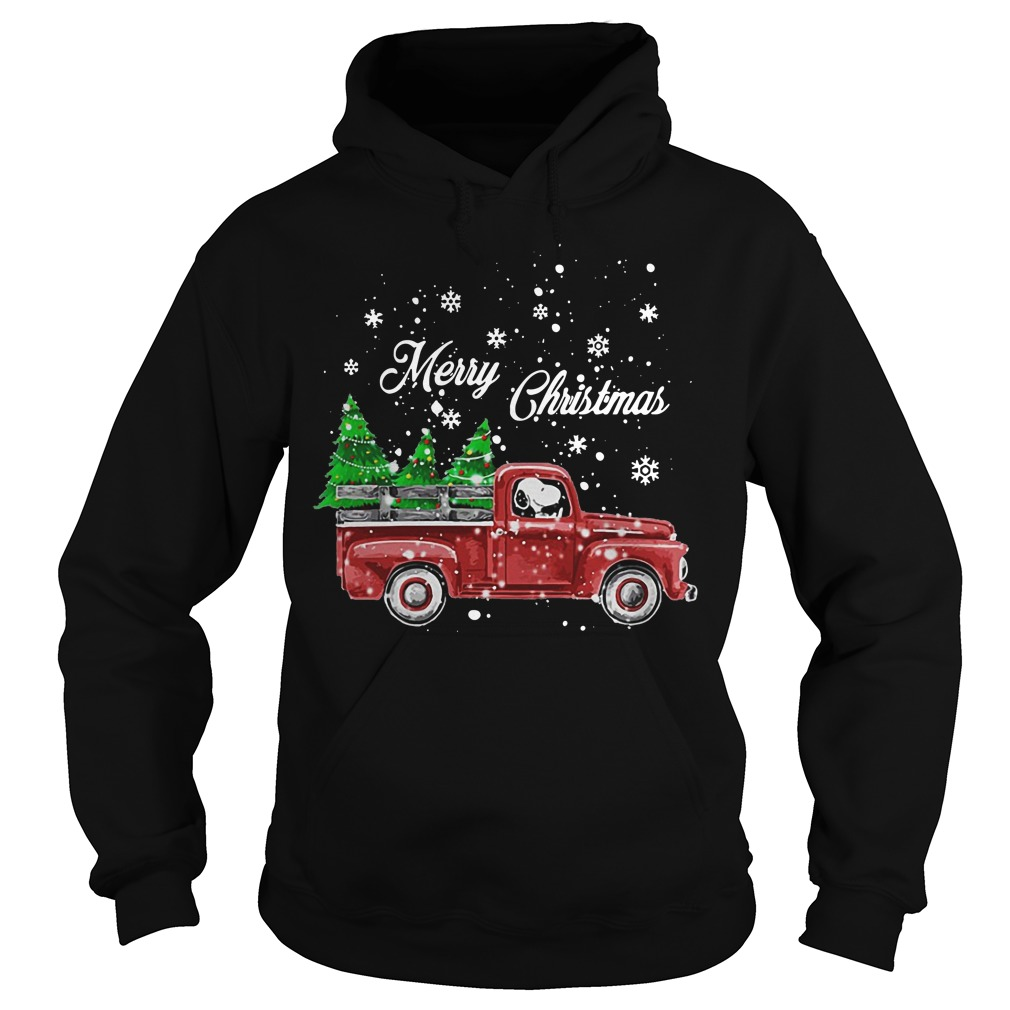 Merry Christmas Snoopy driving Christmas tree hoodie