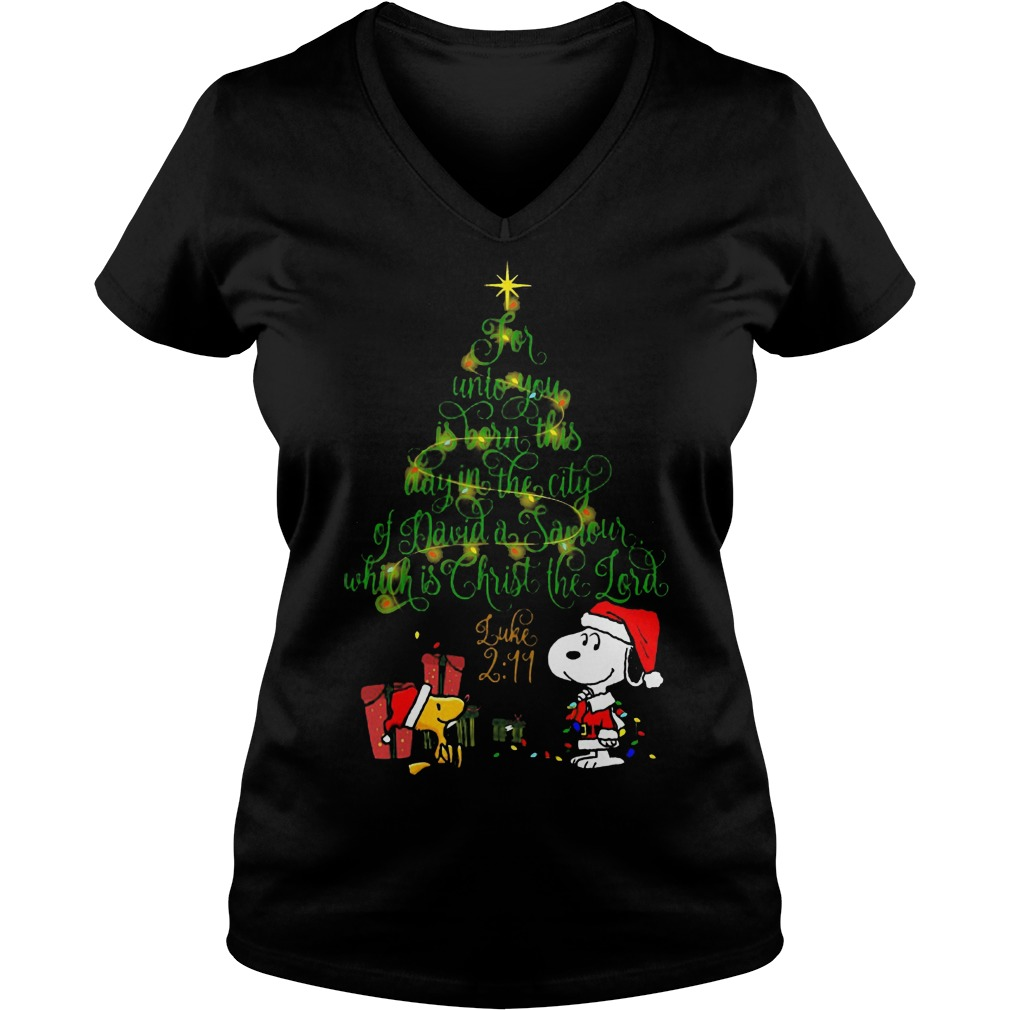Snoopy for unto you is born this day in the city of david a saviour which is Christ the lord V-neck