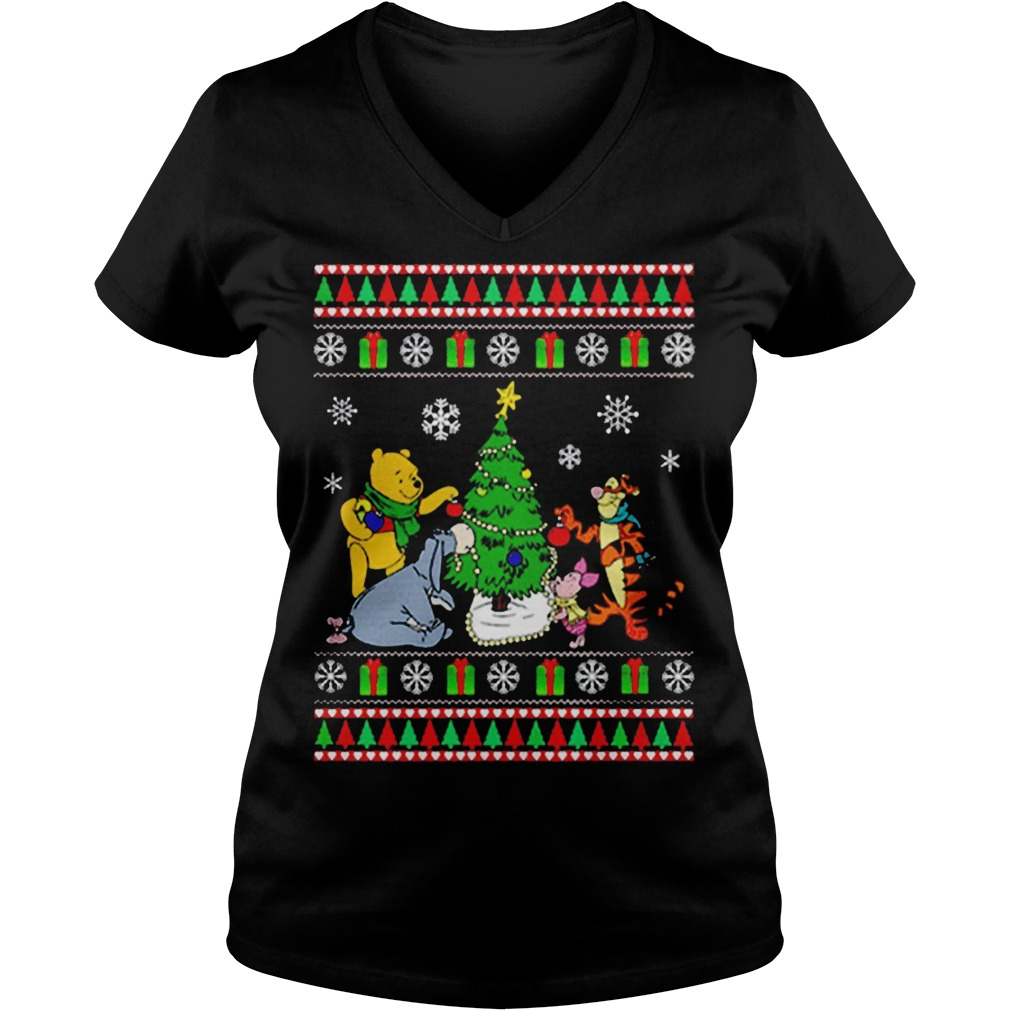 Winnie The Pooh Christmas Tree Ugly Christmas Sweater V-neck