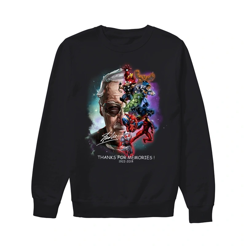 Adorable Stan Lee and Marvel Super Heroes thanks for memories 1922 - 2018 sweater