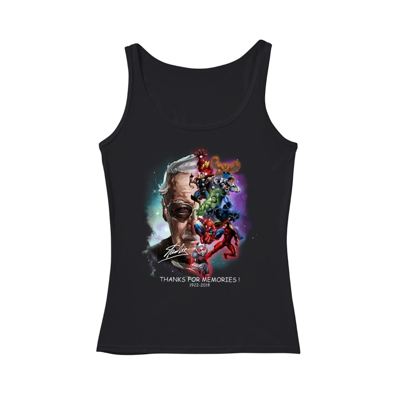 Adorable Stan Lee and Marvel Super Heroes thanks for memories 1922 - 2018 tank top