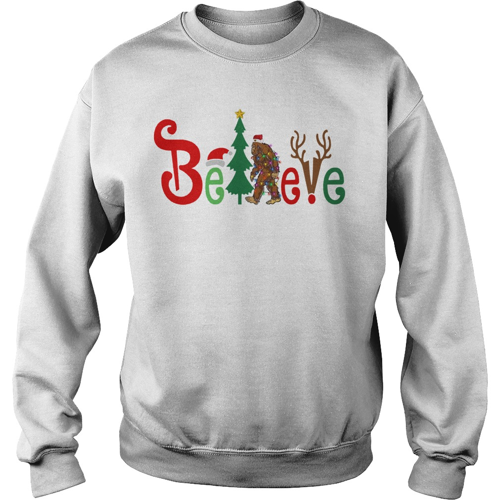 Believe Bigfoot Christmas sweater