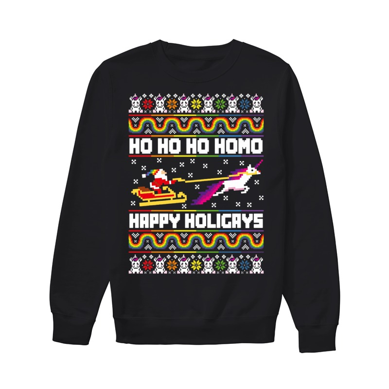 Ho Ho Ho Homo happy Holigays ugly Christmas sweater