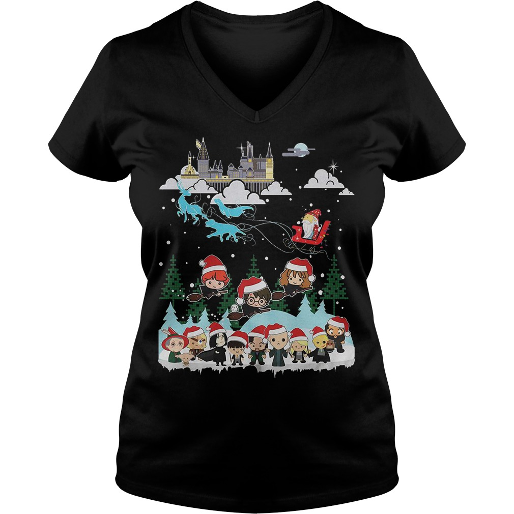 Merry Christmas Hogwarts School V-neck