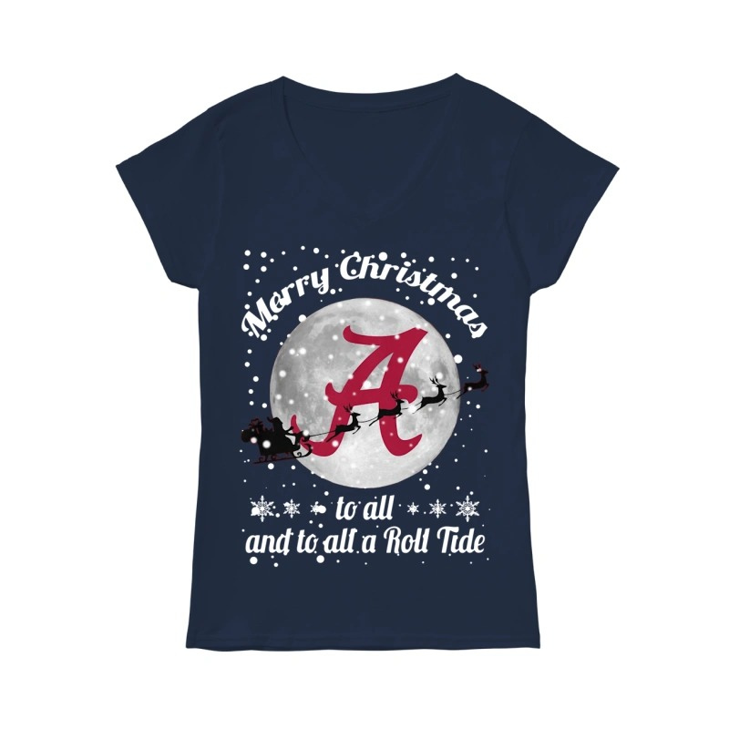 Merry Christmas to all and to all a Roll Tide Alabama Crimson Tide V-neck