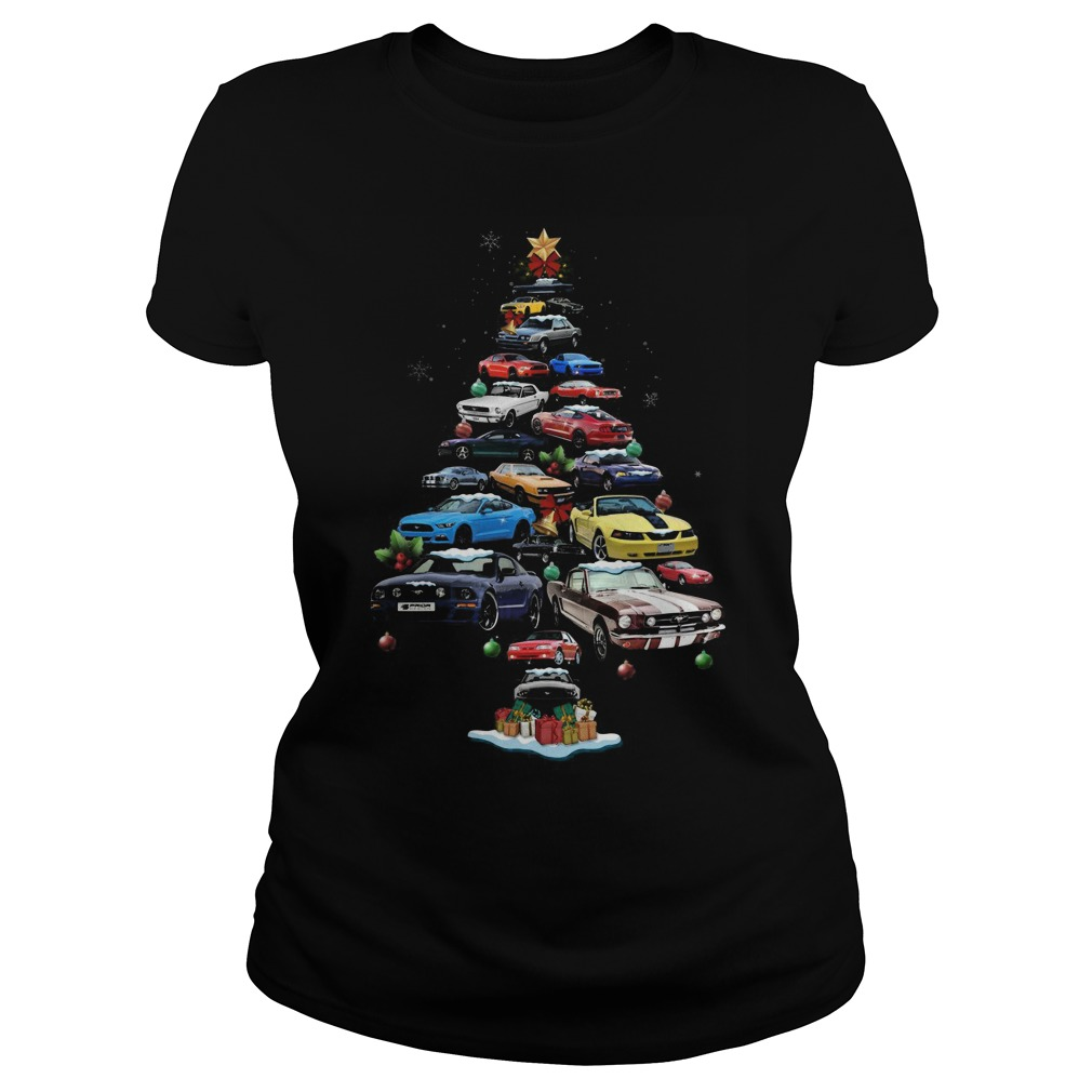 Mustang Cars Tree Christmas ladies tee