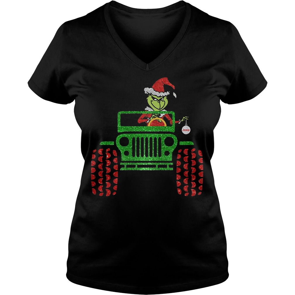 The Grinch driving Jeep Christmas V-neck