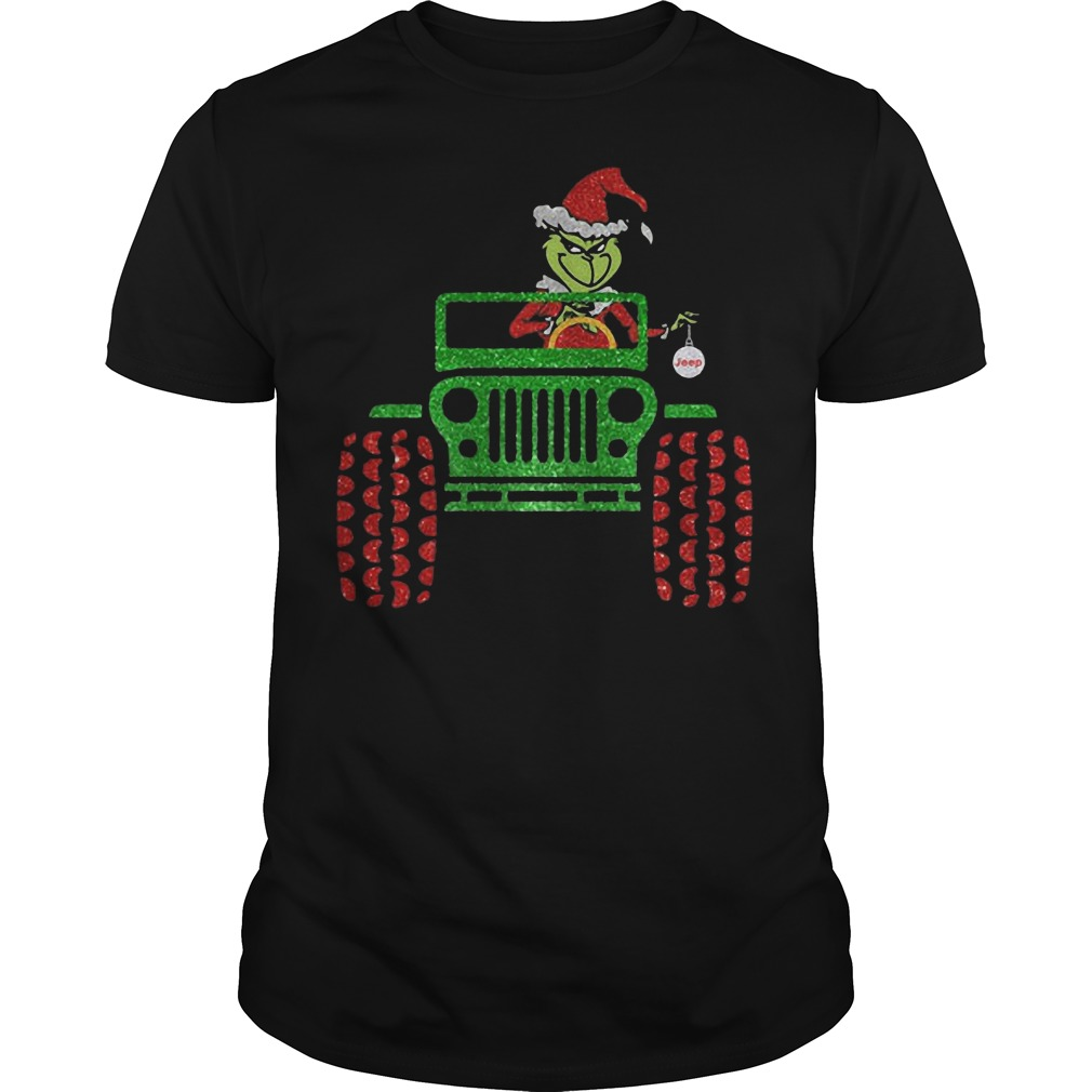 The Grinch driving Jeep Christmas classic guy