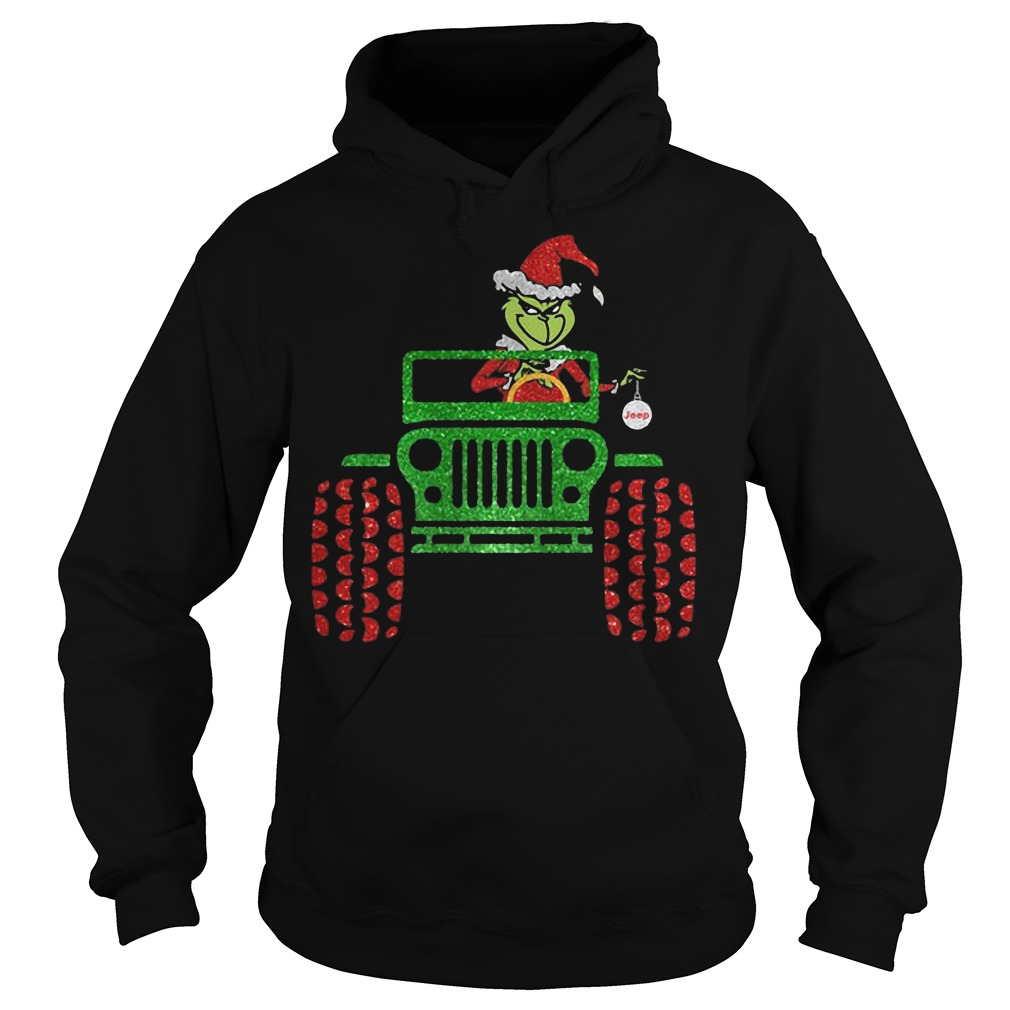 The Grinch driving Jeep Christmas hoodie