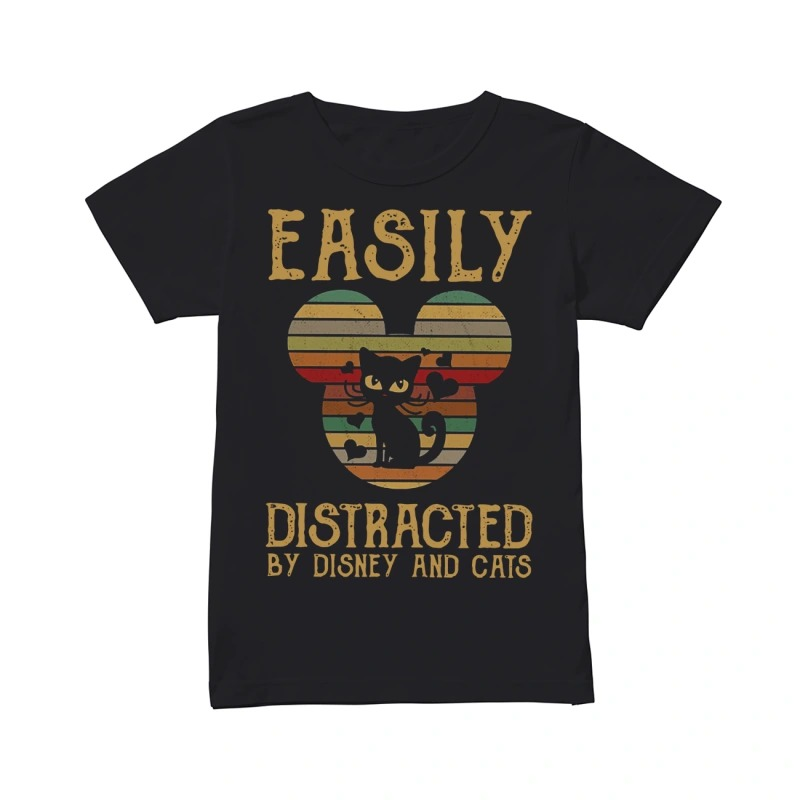 Easily distracted by Disney and cats shirtEasily distracted by Disney and cats ladies tee
