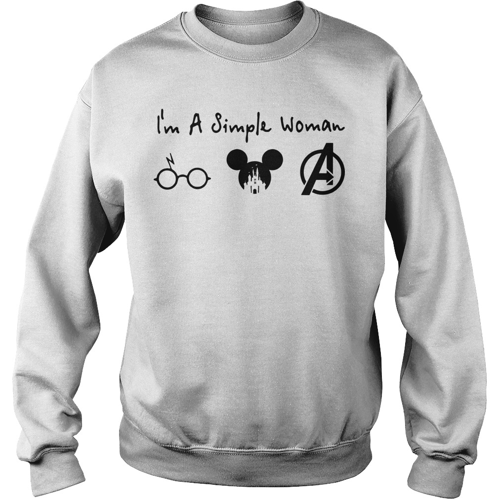 I'm a simple woman like Harry Potter Mickey and Avengers sweater