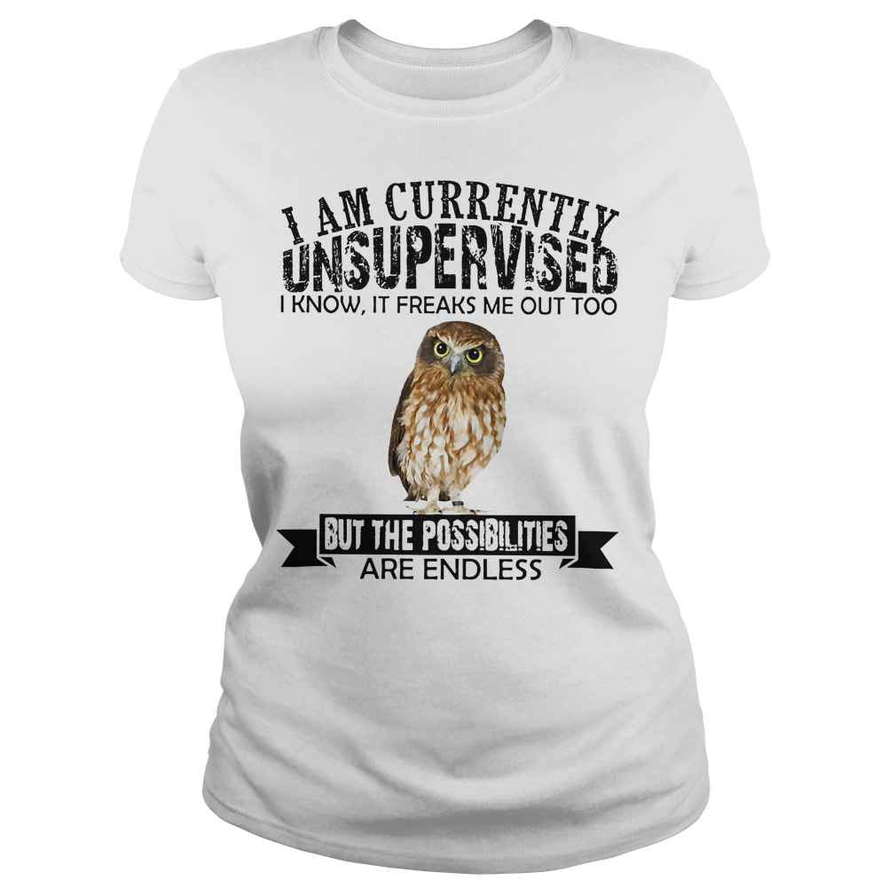 I am currently unsupervised I know it freaks me out too but the possibilities are endless Owl ladies tee