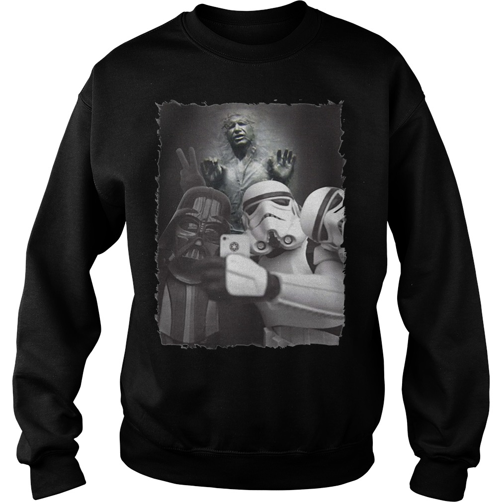 Star Wars Darth Vader and Stormtrooper selfie with Han Solo Carbonite sweater