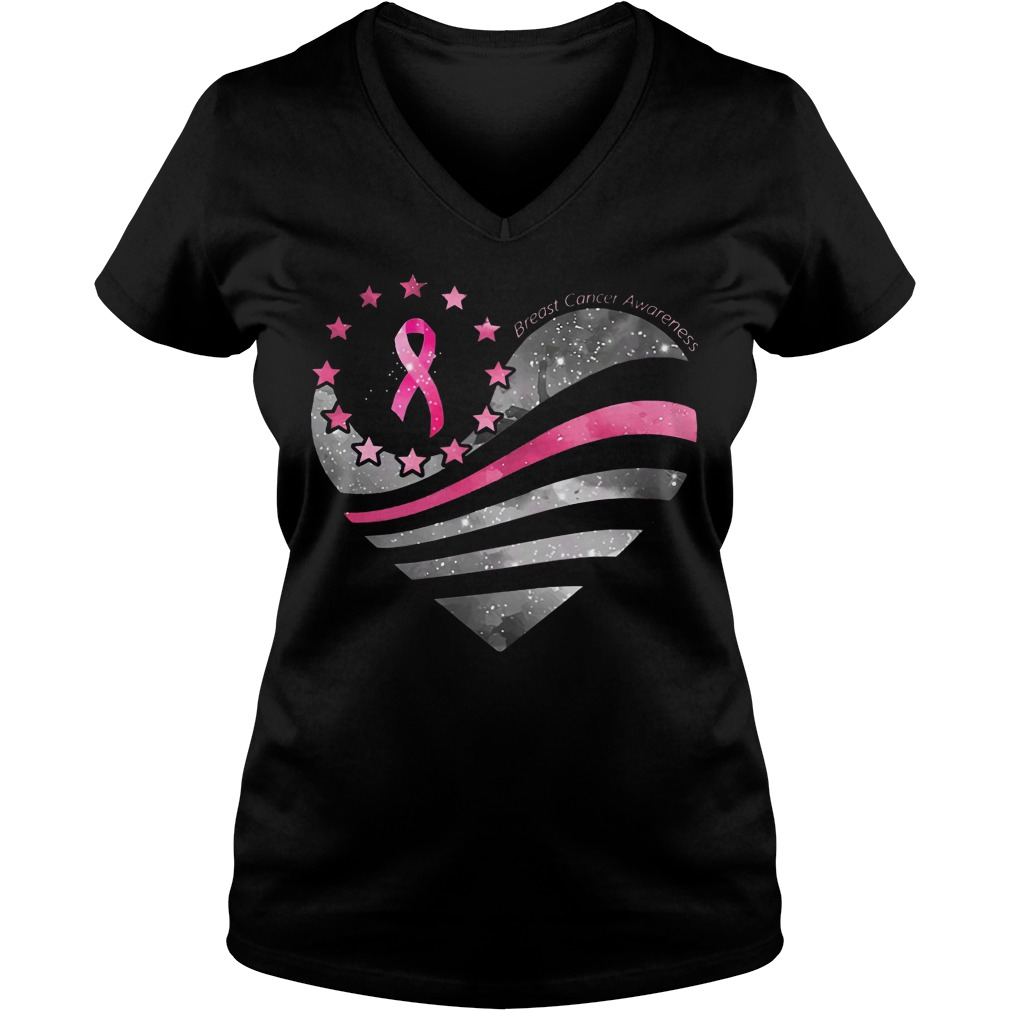 Breast Cancer Awareness Heart Moon V-neck