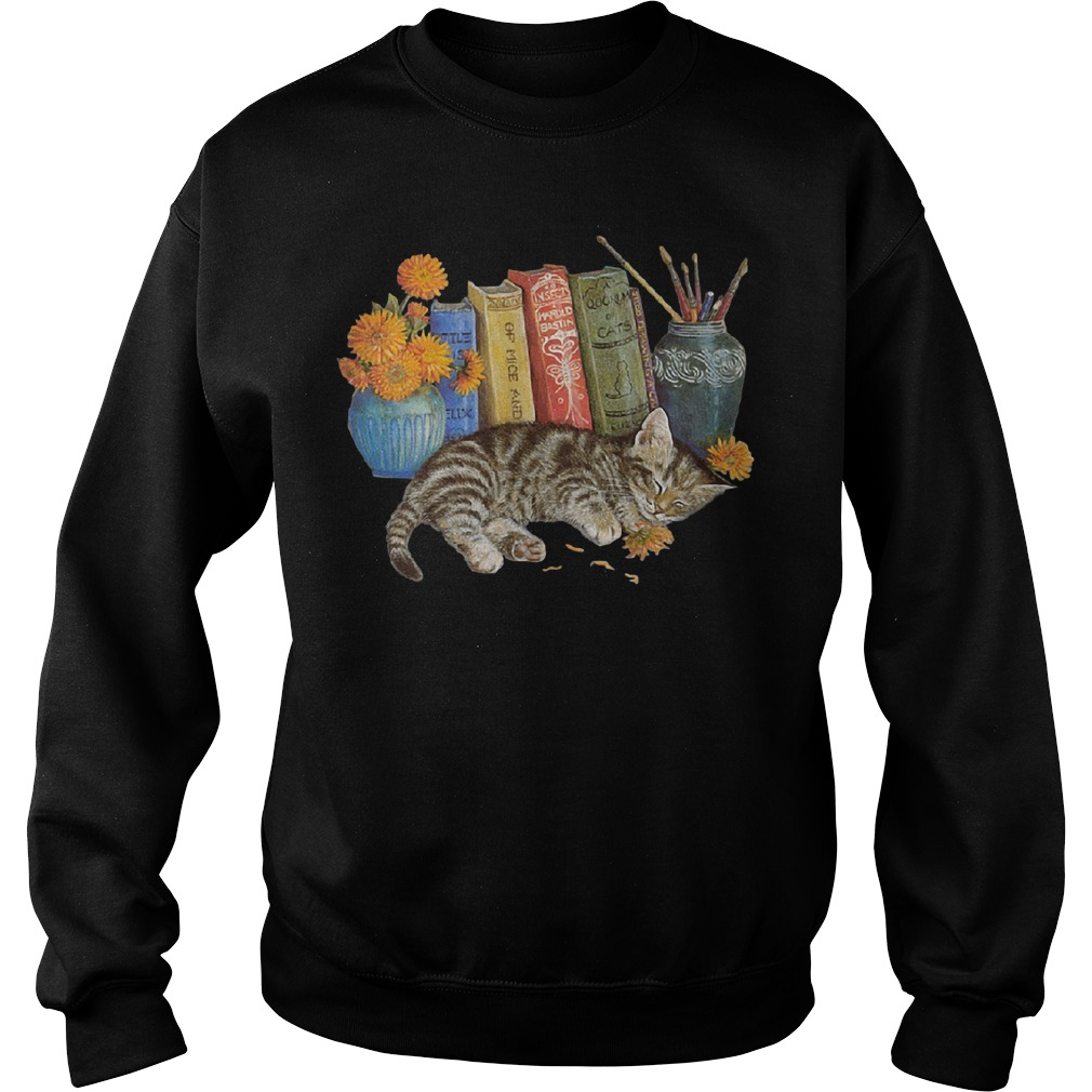 Cat grabs flowers sweater