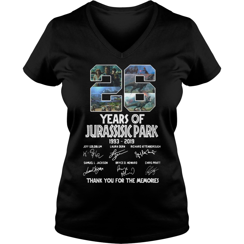 26 Years of Jurassic Park 1993 2019 thank you for memories V-neck