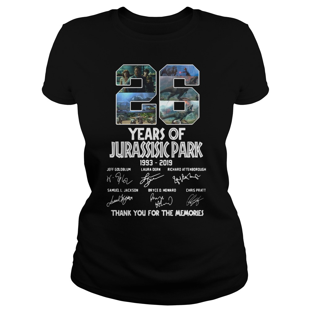 26 Years of Jurassic Park 1993 2019 thank you for memories ladies tee