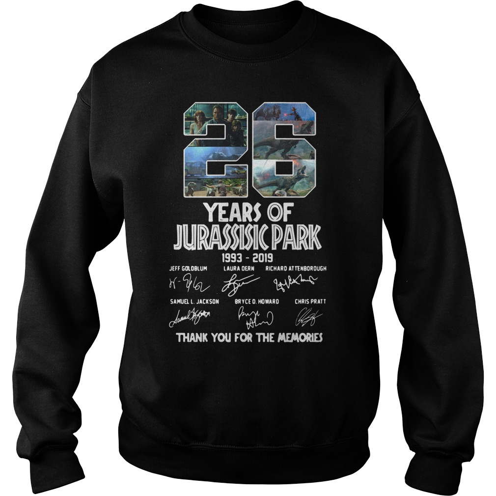 26 Years of Jurassic Park 1993 2019 thank you for memories sweater