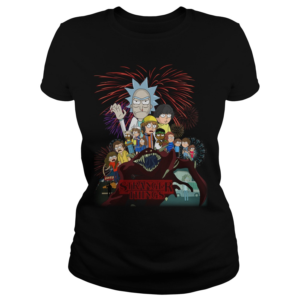 Rick and Morty Schwifty Things Stranger Things ladies tee