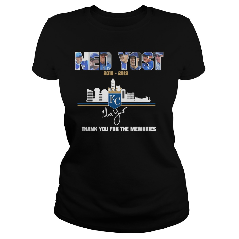 Kansas City Royals Ned Yost 2010 2019 thank you for the memories ladies tee