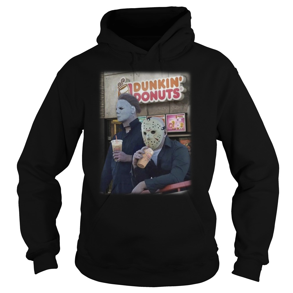 Michael Mayer and Jason Voorhees drink Dunkin Donuts hoodie