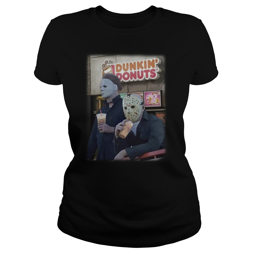 Michael Mayer and Jason Voorhees drink Dunkin Donuts ladies tee