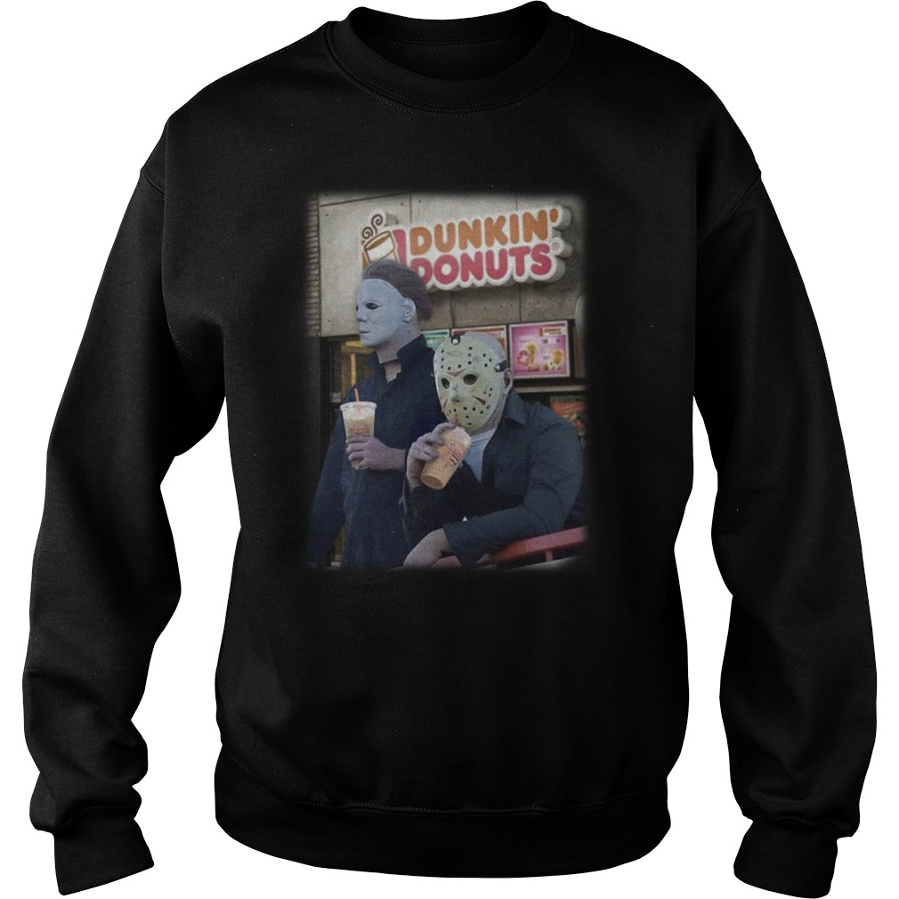 Michael Mayer and Jason Voorhees drink Dunkin Donuts sweater