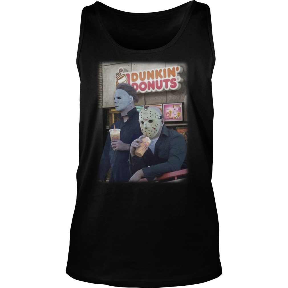 Michael Mayer and Jason Voorhees drink Dunkin Donuts tank top