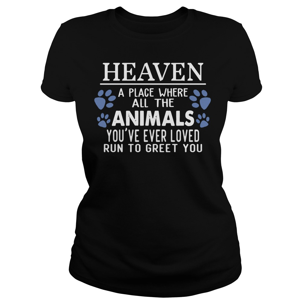 Heaven a place where all the Animals you're ever loved run to greet you ladies tee