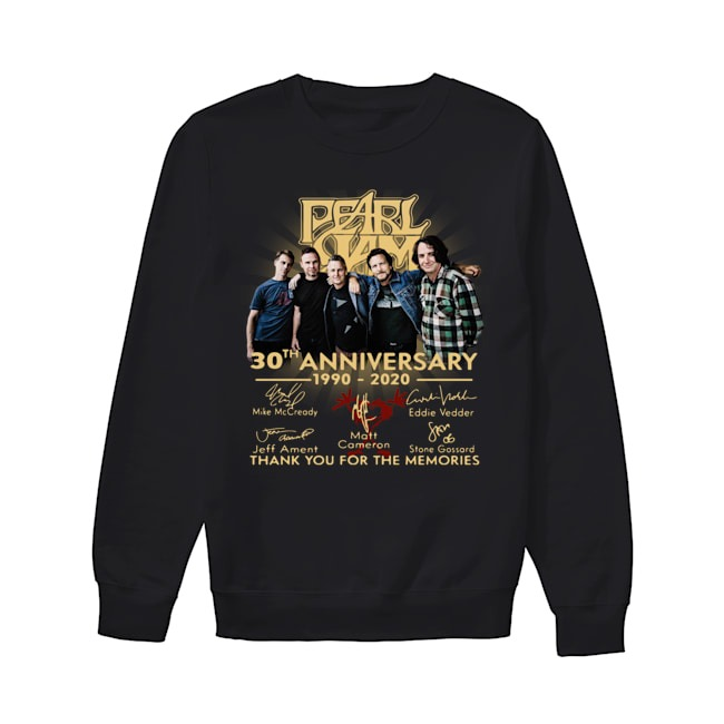 Pearl Jam 30th Anniversary 1990 2020 signatures Thank you for the memories Sweater
