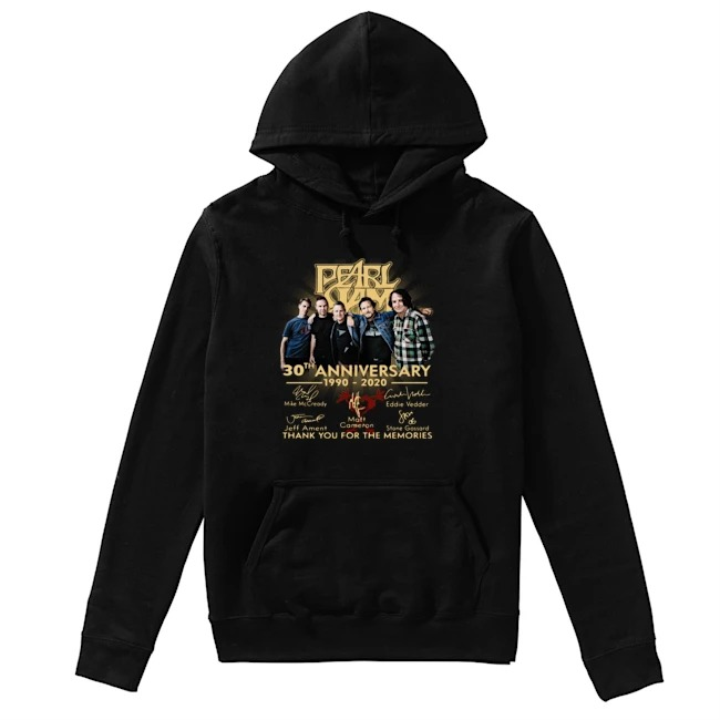 Pearl Jam 30th Anniversary 1990 2020 signatures Thank you for the memories Hoodie