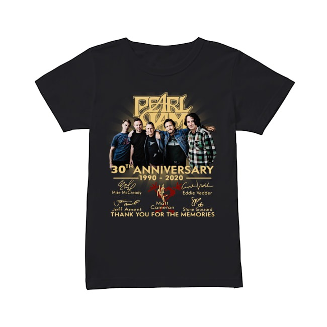 Pearl Jam 30th Anniversary 1990 2020 signatures Thank you for the memories Ladies shirt