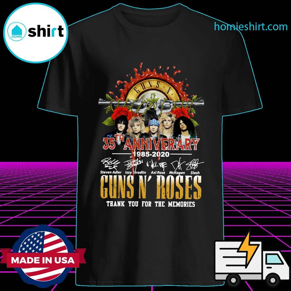 Guns N' Roses 35th Anniversary 1985 2020 Thank You For The Memories Signatures Shirt
