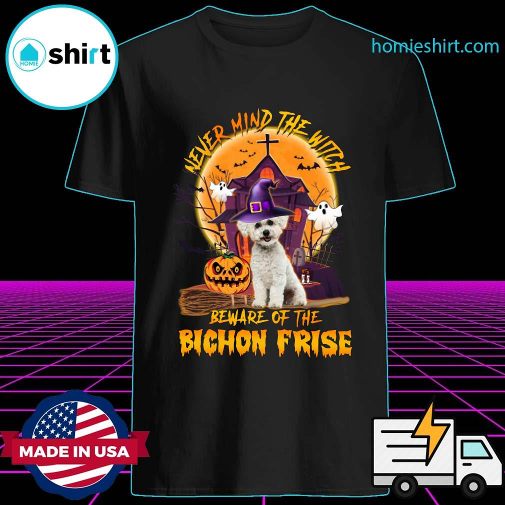 Never Mind The Witch Beware Of The Bichon Frise Halloween Moon Shirt