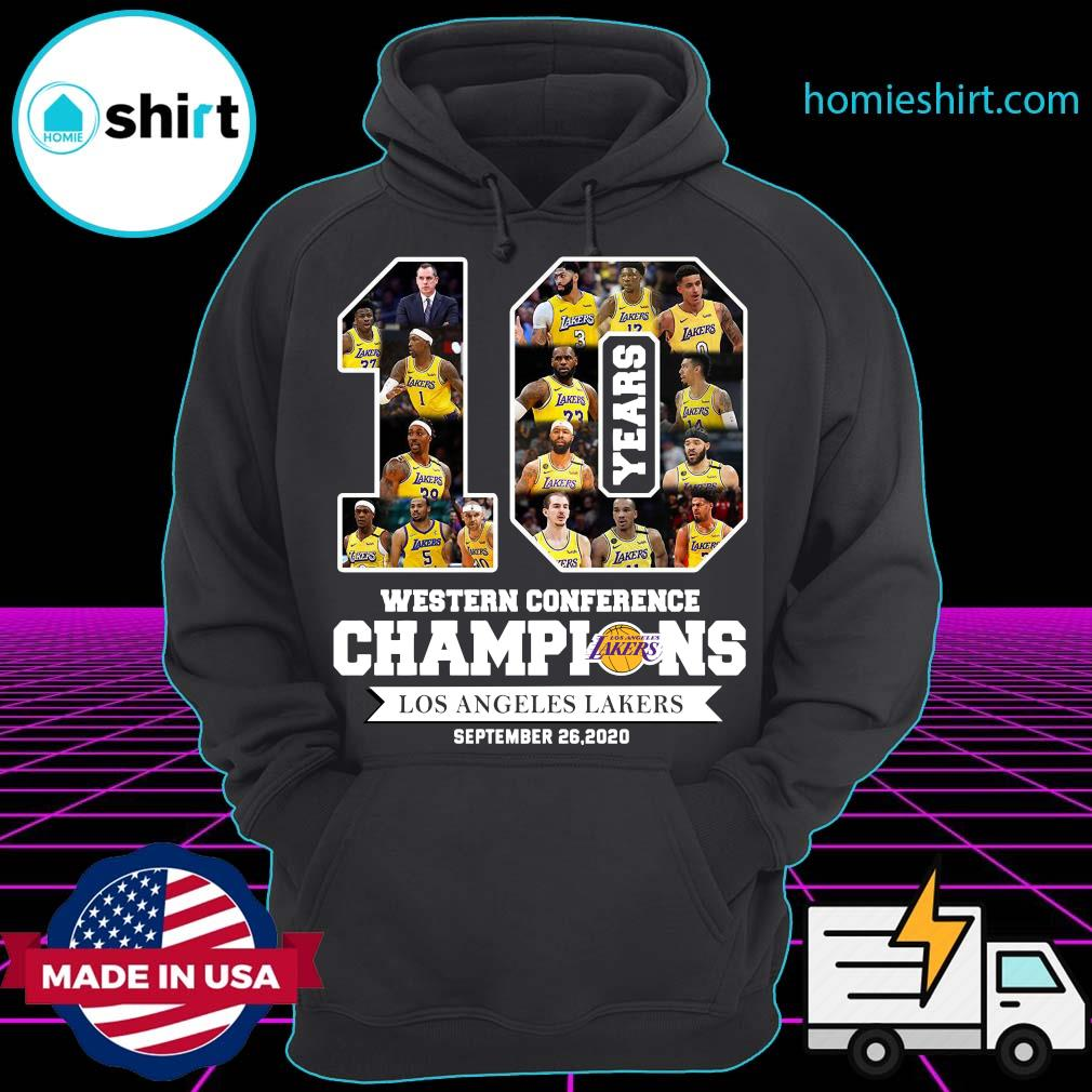 10 Years Western Conference Champions Los Angeles Lakers September 26 2020 Shirt Hoodie