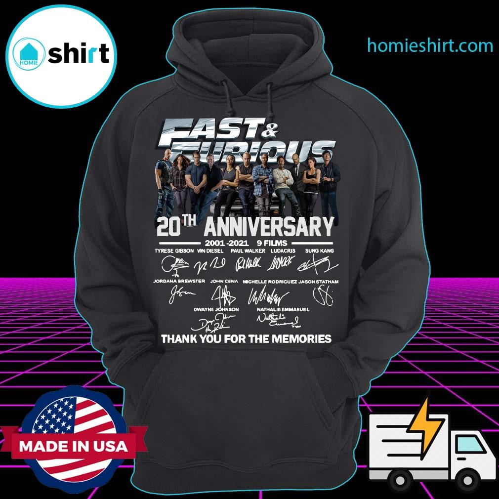 Fast And Furious 20th Anniversary 2001 2021 Thank Shirt Hoodie
