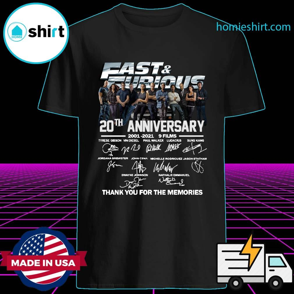 Fast And Furious 20th Anniversary 2001 2021 Thank Shirt