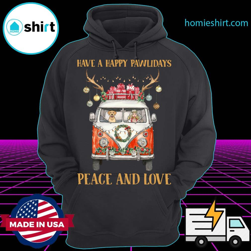 Girl And Dog Have A Happy Pawlidays Peace And Love Christmas Sweats Hoodie