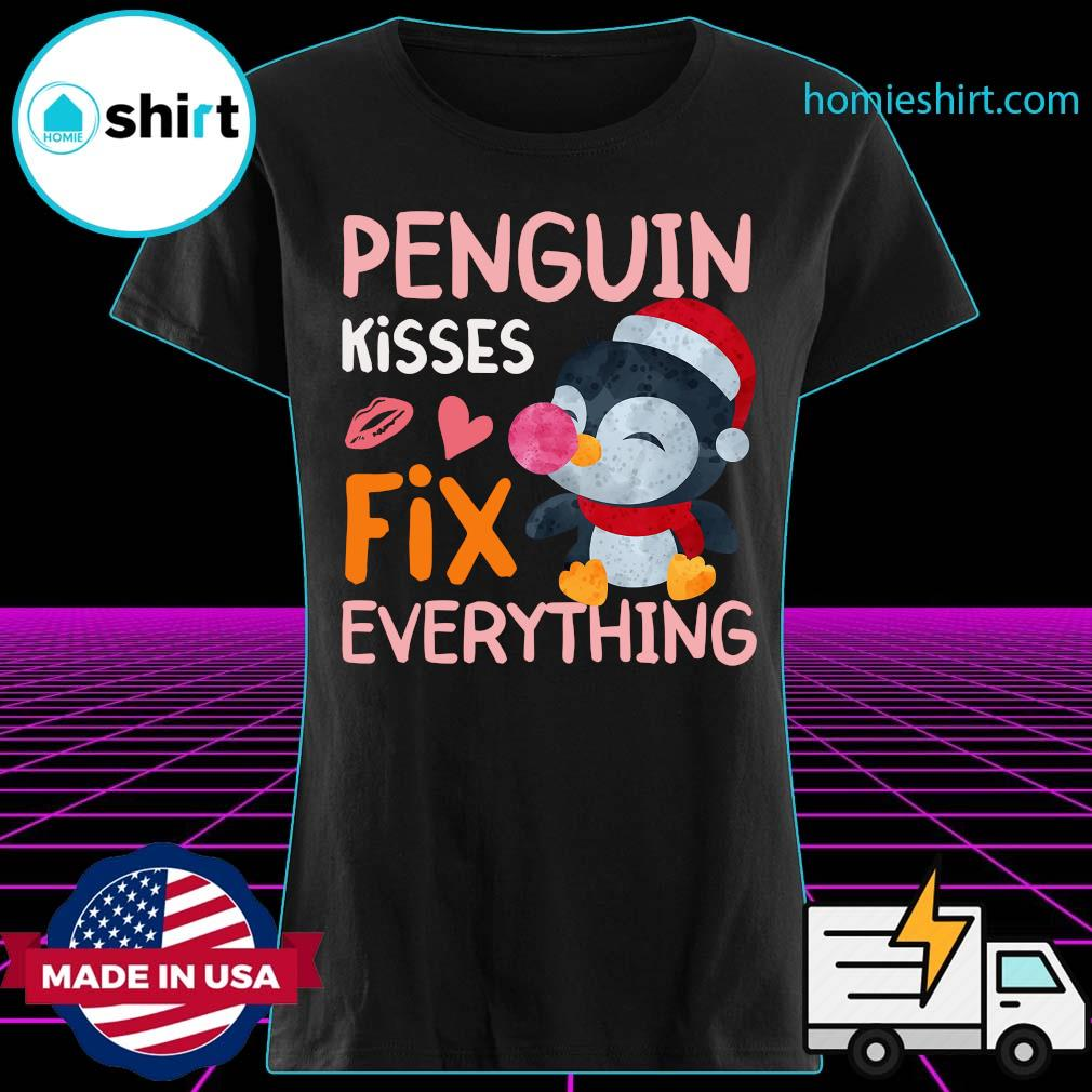 Penguin Kisses Fix Everything Christmas Shirt Ladies