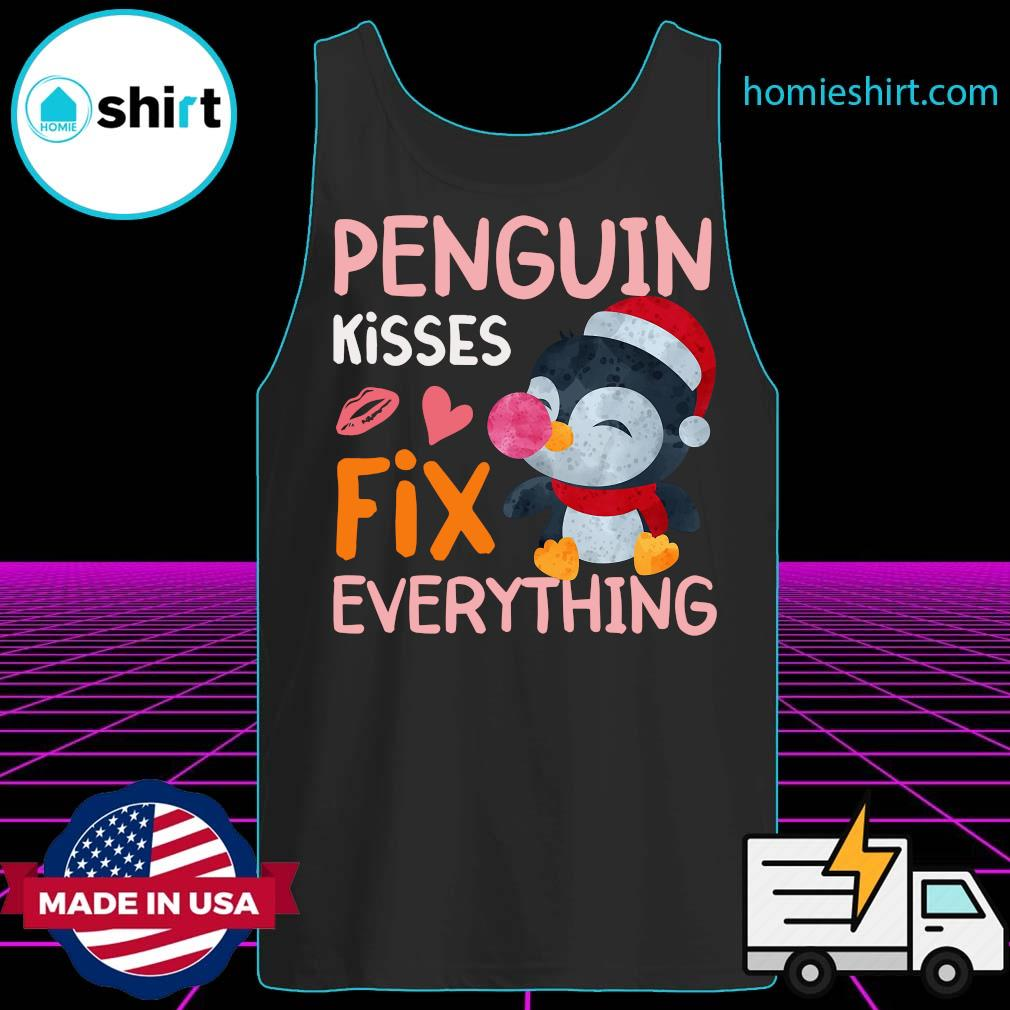 Penguin Kisses Fix Everything Christmas Shirt Tank-Top