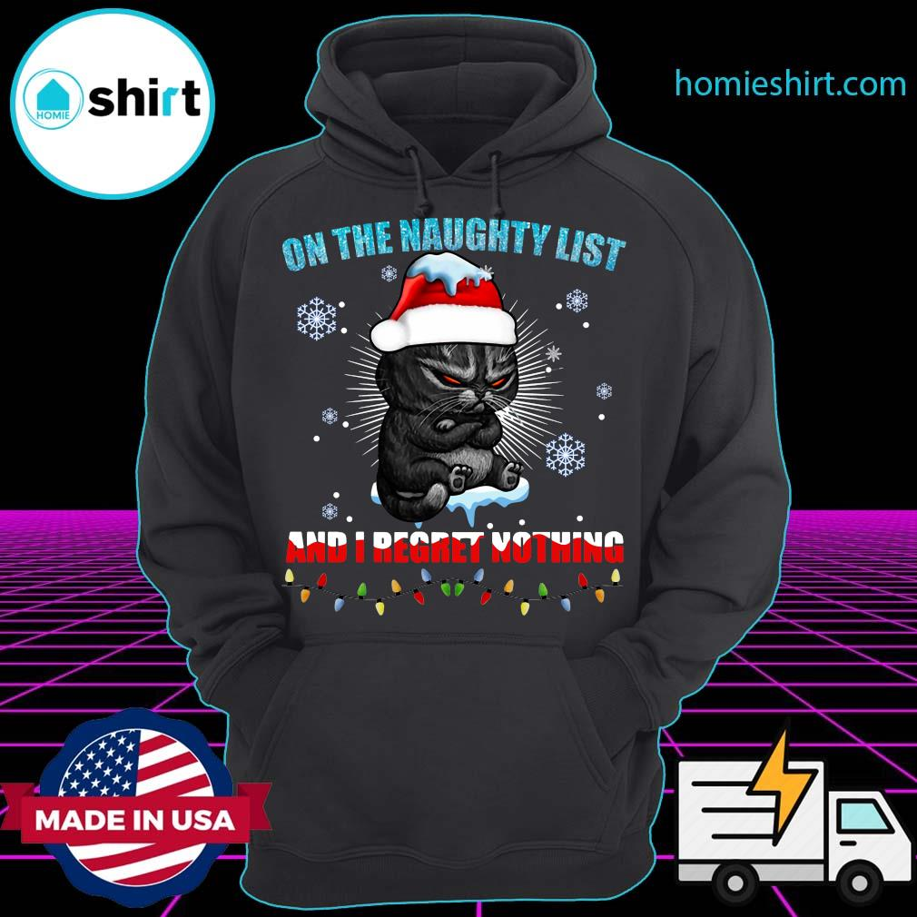 Santa Cat Grumpy On The Naughty List And I Regret Nothing 2020 Christmas Sweats Hoodie