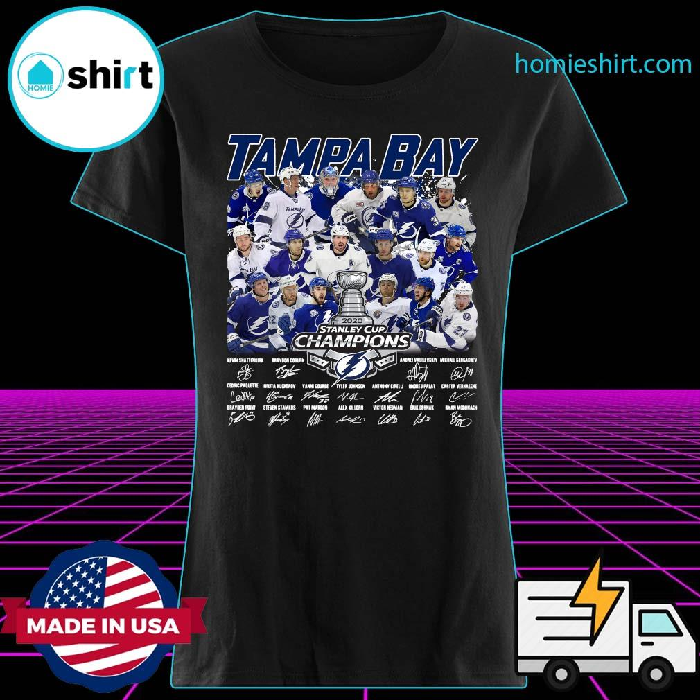 Tampa Bay 2020 Stanley Cup Champions Players Signatures Shirt Ladies