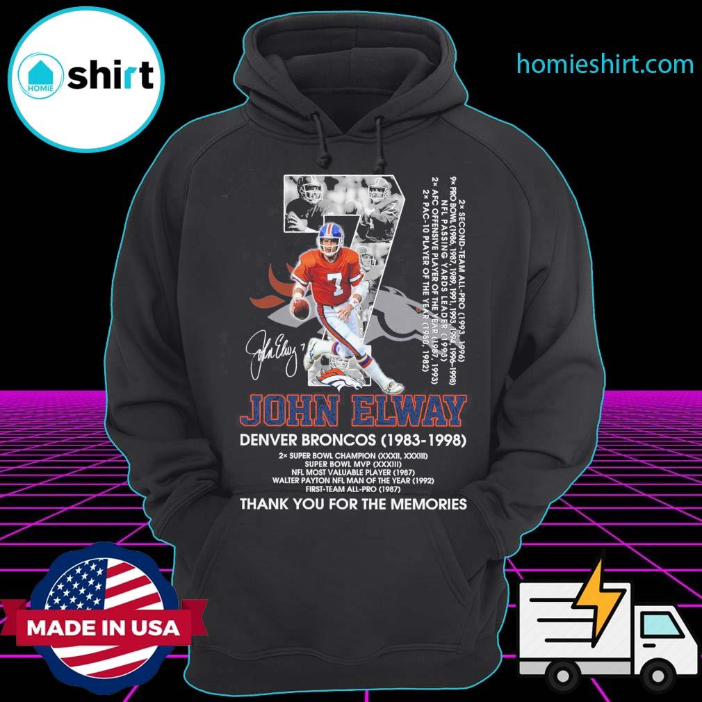 07 John Elway signature Denver Broncos 1983 1998 achievement thank you for the memories s Hoodie