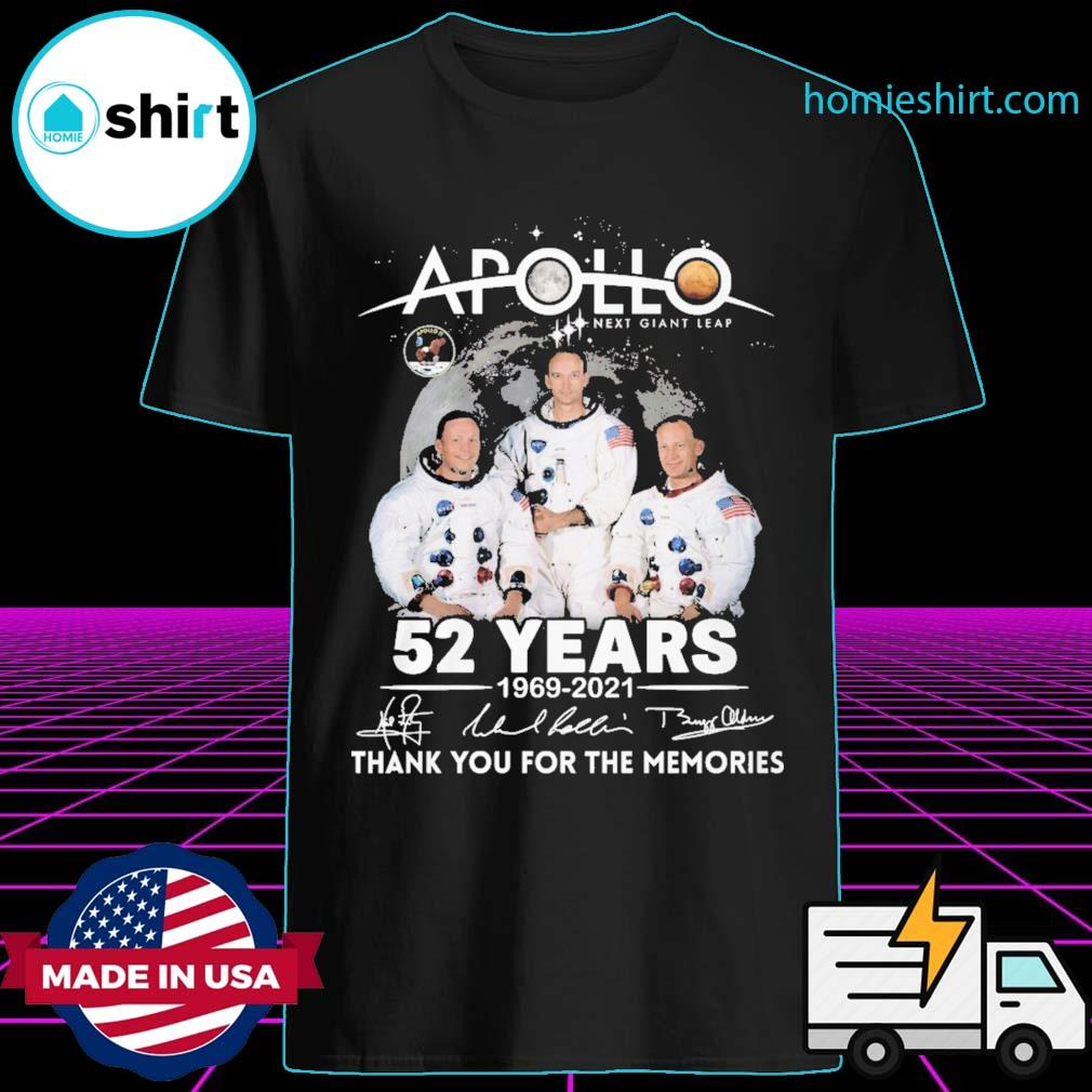 Apollo next giant leap 52 years 1969 2021 signatures thank you for the memories shirt